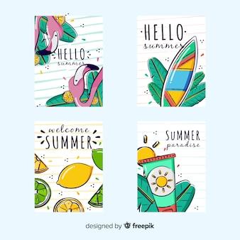 手描き夏カードコレクション