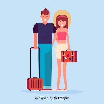 旅行の背景に行くカップル