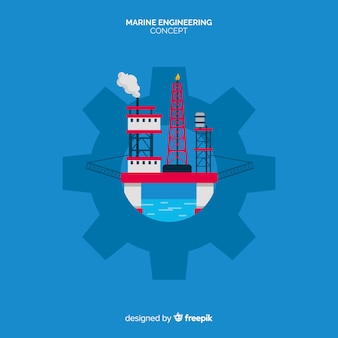 フラットなデザインの海洋工学の概念