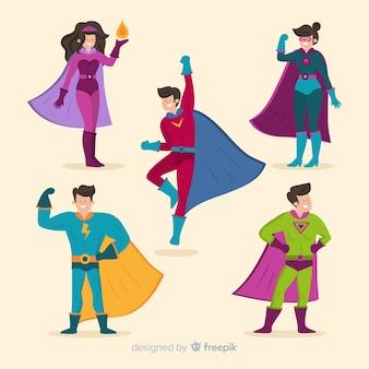 カラフルなスーパーヒーローのイラスト