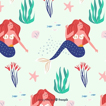 手描きの人魚の模様