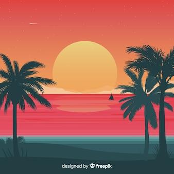 グラデーションビーチの夕日の風景の背景