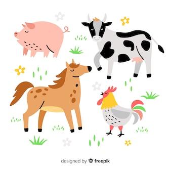 手描きの農場の動物コレクション