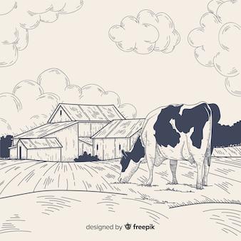 Ручной обращается фермы пейзаж