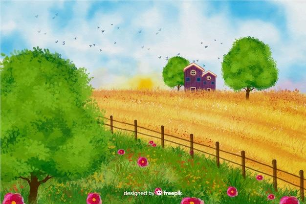Акварельный пейзаж фермы