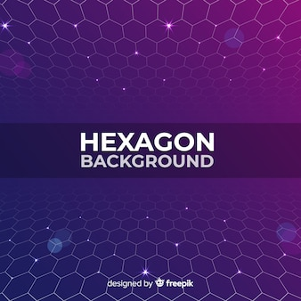 未来的な紫色の六角形ネットの背景