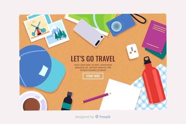 Плоская целевая страница путешествия