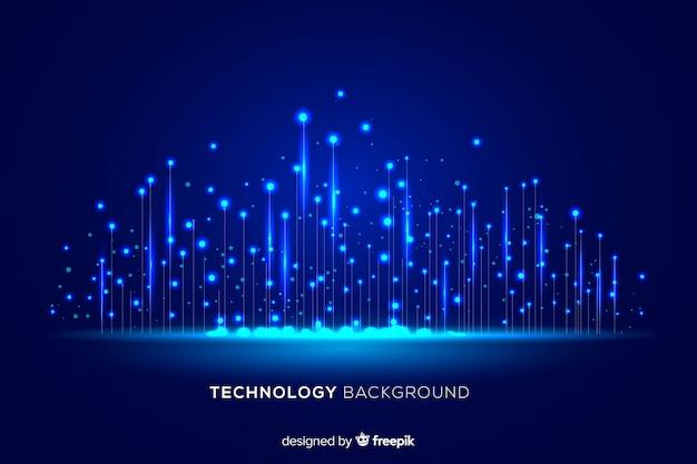技術的な光の粒子が落ちる背景
