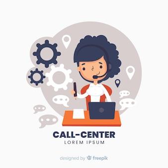 Помощник колл-центра помогает клиентам