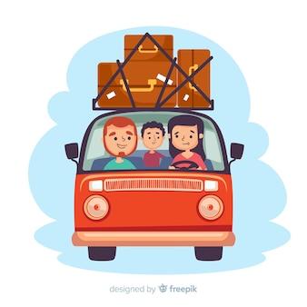 平らな幸せな家族旅行の背景