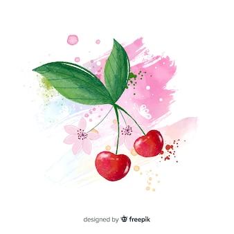 チェリーと水彩のフルーツの背景