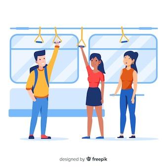 地下鉄で行く人