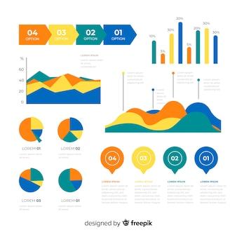 Плоские инфографики элементы с коллекцией статистики