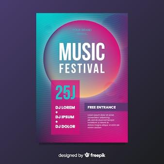 Шаблон плаката фестиваля градиента музыки