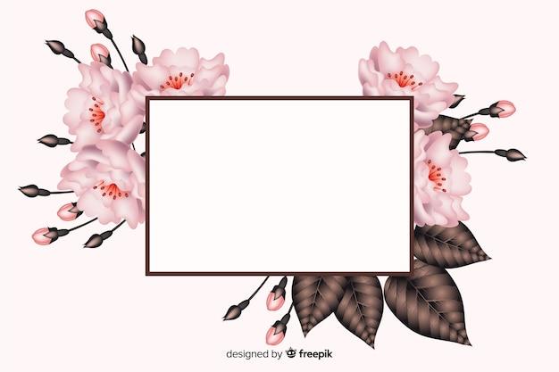 花のフレームと現実的な白紙の横断幕