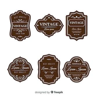 ヴィンテージの茶色のロゴのセット