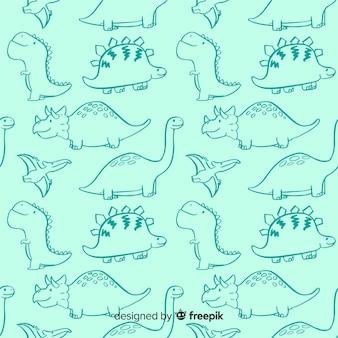 カラフルな手描きの恐竜パターン