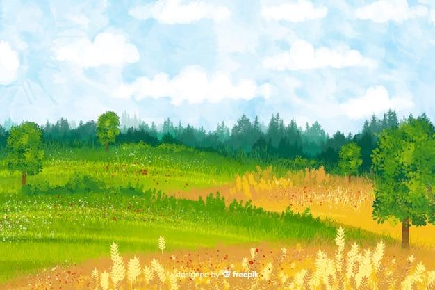 水彩ファーム風景
