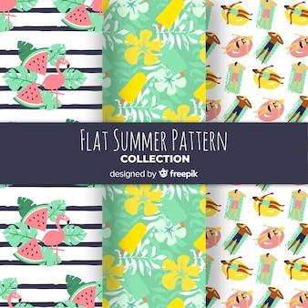 フラットなデザインの夏パターンのセット