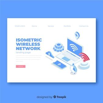 Целевая страница изометрической беспроводной сети