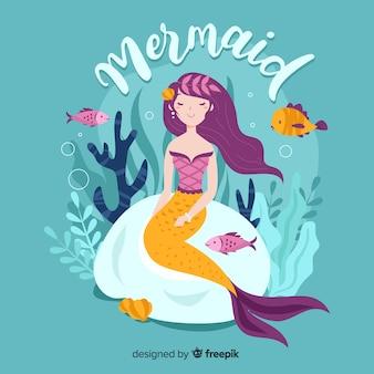 手描きの美しい人魚の背景