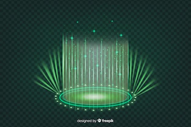 リアルなグリーンホログラムポータルの背景