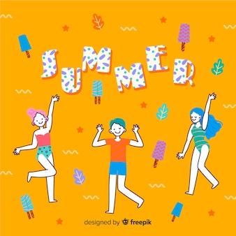 Рисованной люди наслаждаются летом
