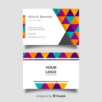Плоский геометрический шаблон визитной карточки
