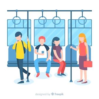 Люди едут в метро
