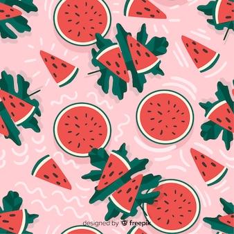 Плоский тропический фон с фруктами