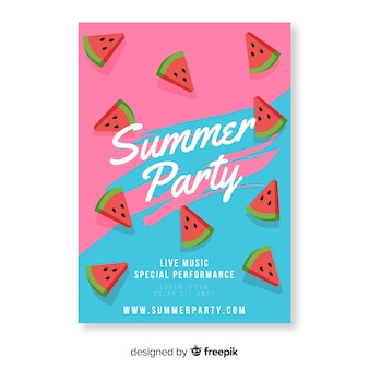 スイカとカラフルな夏のパーティーのポスター