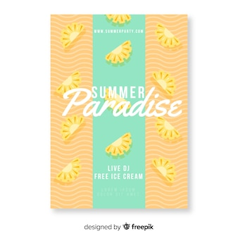 Красочный летний райский плакат