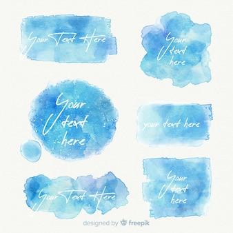 青のリアルな水彩画の染みコレクション
