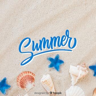 写真の背景と夏のレタリング
