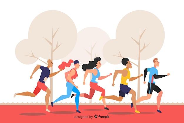 Иллюстрация группы людей, бегущих
