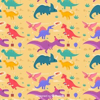 カラフルなフラット恐竜パターン