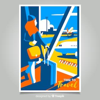 Плоский винтажный рекламный плакат