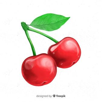 Акварель фруктовый фон с вишней