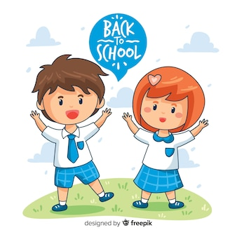 手描きの子供たちが学校の背景に戻る