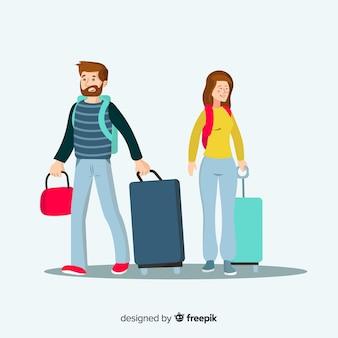 平らな幸せなカップル旅行の背景