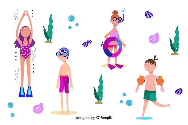 Люди наслаждаются летом на пляже