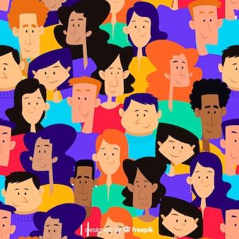 カラフルな手描きの若者の人々のパターン