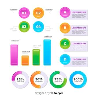 統計情報のコレクションを持つ平らなインフォグラフィック要素