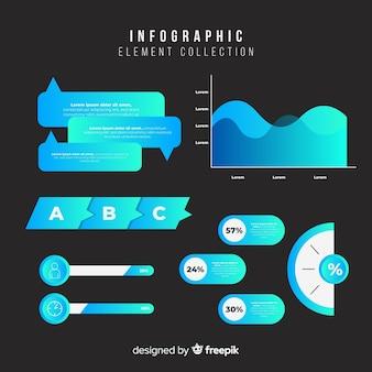 フラットグラデーションインフォグラフィック要素のコレクション
