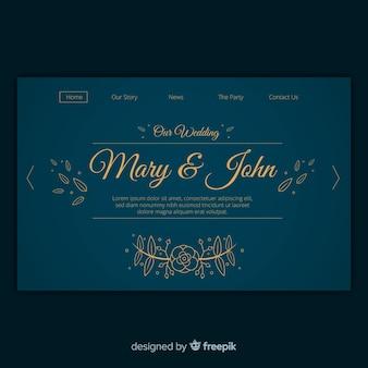 Цветочная свадебная страница шаблона посадки