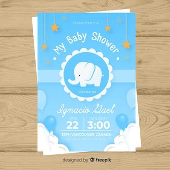 ベビーシャワーの招待状カードのテンプレート