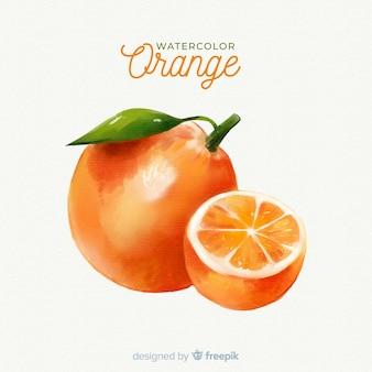 オレンジと水彩のフルーツの背景