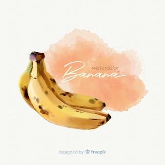 バナナと水彩のフルーツの背景