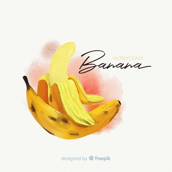Акварель фруктовый фон с бананами