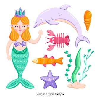手描きの海の文字コレクション
